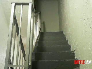 Justin Falls Down A Flight of Stairs & Hurts Himself.. on Battlecam.com